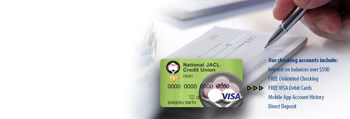 Image of Checks and Debit Card. Get smart checking with interest.